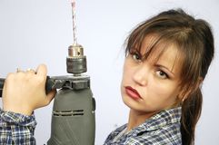 Power tool woman Royalty Free Stock Image