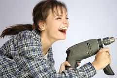 Power tool woman Royalty Free Stock Photos