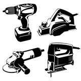 Power tools. Set of black and white images of the power tools. Vector stencil image Royalty Free Stock Images