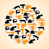 Power tools black and yellow icons in circle Stock Image