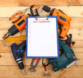 Power tools. Power hand tools and clipboard stock images