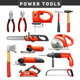 Power Tools Red Black Pictograms Collection. Electric and mechanical power carpenter worker tools flat pictograms set in red and black abstract  vector Royalty Free Stock Images