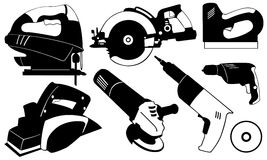 Power tools. Set of different power tools isolated Stock Images