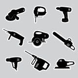 Power tools stickers set eps10 Stock Image