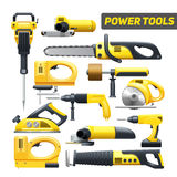 Power Tools Yellow Black Pictograms Collection Royalty Free Stock Photo
