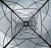 Power Tower. Electrical shower looking up with fisheye lens royalty free stock photo