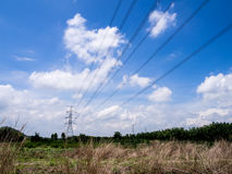 Power tower with field. On sunny day stock image