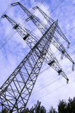 Power tower. High voltage tower with blue sky stock photos