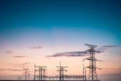 Power tower silhouetted Royalty Free Stock Images