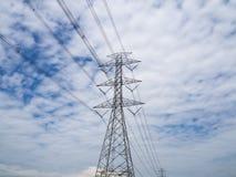 Power tower on sky. Sunny day stock photos