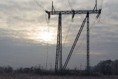 The power tower. A tower for transmission of electricity to homes Stock Photo
