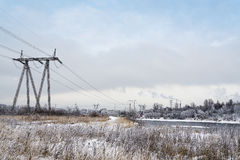 The power tower. A tower for transmission of electricity to homes Royalty Free Stock Photography