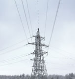 Power Tower in the Winter Day Royalty Free Stock Photo