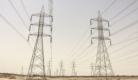 Power Towers on the desert kuwait royalty free stock images