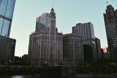 Power Towers. Tall towerd next to Chicago river Stock Photography