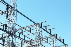 Power transfer station with overhead grid. Horizontal aspect Royalty Free Stock Photos