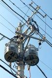 Power transformer. Over blue sky Stock Images