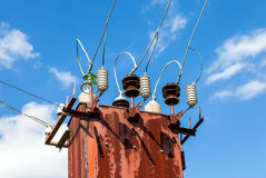 Power transformer against the blue sky Stock Images