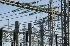 Power Transformer Station. Electric power transformation substation some details Stock Photo