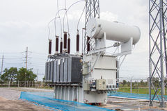 Power transformer in sub station Royalty Free Stock Photo