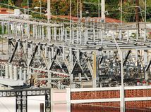 Power transformer and substation Royalty Free Stock Photography