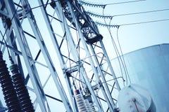 Power transformer substation. Technology landscape. Stock Images