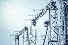 Power transformer substation. Technology landscape. Royalty Free Stock Photo