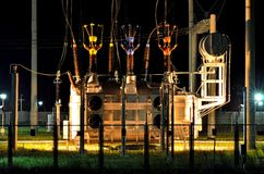 Power transformers with insulators Stock Photo