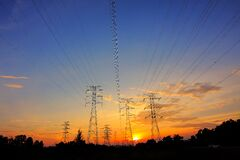 Power transformers at sunset