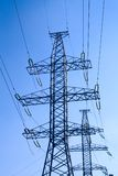 Power transmission. Tower carrying electricity from different parts of country Royalty Free Stock Image