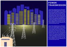 Power Transmission, electricity, high voltage line, transformer, city power supply. Vector Illustration Royalty Free Stock Photos