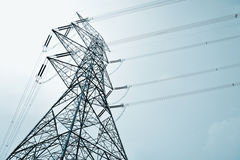 Power Transmission Line. In tint bone stock photography