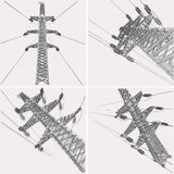 Power Transmission Line. Vector illustration Stock Photography