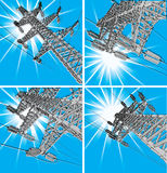 Power Transmission Line. Vector illustration, set Stock Photography
