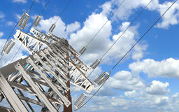 Power Transmission Line. High-voltage tower sky background. 3d render Royalty Free Stock Image