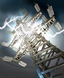 Power Transmission Line. Lightning strike. Crash. 3d render royalty free stock photo