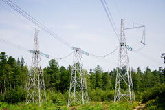 The power transmission line. 3 different power transmission line constructions stock images