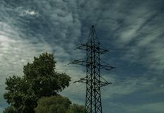 Power transmission line. In the city royalty free stock photography