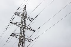 Power Transmission Line On a cloudy day.  stock images