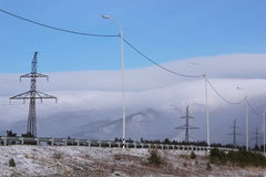 Power transmission line. In mountains Stock Photography