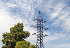 Power transmission line. In the city royalty free stock photo