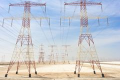 Power Transmission Line. Power Transmission Towers in the Desert Royalty Free Stock Photos
