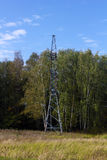 Power transmission line support, in the forest Royalty Free Stock Images