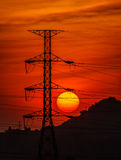 Power transmission line to the Sun Royalty Free Stock Photo
