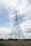 Power transmission line and tower Stock Photos