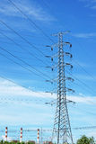 Power transmission line tower Stock Photos