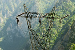 Power transmission line in the wild. Power transmission line with green nature in the background royalty free stock photos