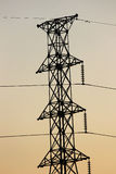 Power Transmission Line with Yellow sky Stock Photography
