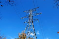 Power Transmission Lines. Electricity tower showing power transmission lines Royalty Free Stock Image