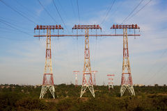 Power transmission lines across river Dnepr Royalty Free Stock Image